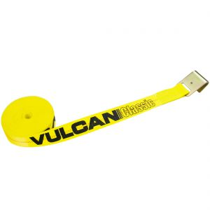 VULCAN Winch Strap with Flat Hook - 2 Inch - Classic Yellow - 3,300 Pound Safe Working Load