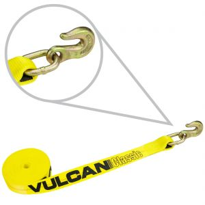 VULCAN Winch Strap with Grab Hook - 2 Inch - Classic Yellow - 3,300 Pound Safe Working Load