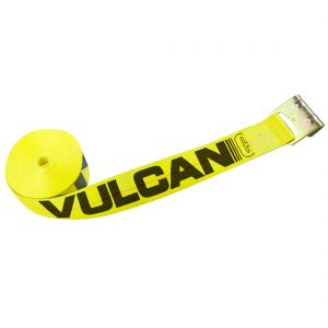 VULCAN Winch Strap with Flat Hook - 3 Inch - Classic Yellow - 5,000 Pound Safe Working Load