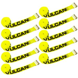 VULCAN Winch Strap with Flat Hook - 3 Inch, 10 Pack - Classic Yellow - 5,000 Pound Safe Working Load