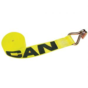 VULCAN Winch Strap with Wire Hook - 3 Inch - Classic Yellow - 5,000 Pound Safe Working Load