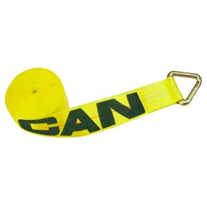 VULCAN Winch Strap with D Ring - 4 Inch - Classic Yellow - 5,400 Pound Safe Working Load