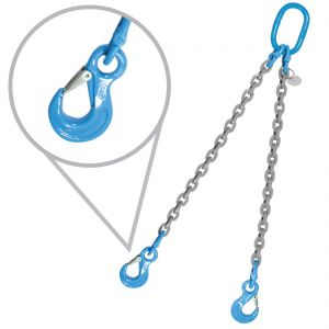 """9/32"""", Grade 120, 15 feet, Double Chain Slings with Sling Hooks"""