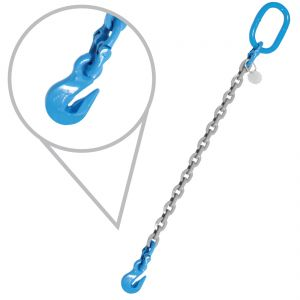 "3/8"", Grade 120, 15 feet, Single Chain Slings with Grab Hooks"